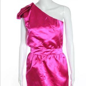 Cynthia Rowley 100% Silk Zip Up One Shoulder Dress